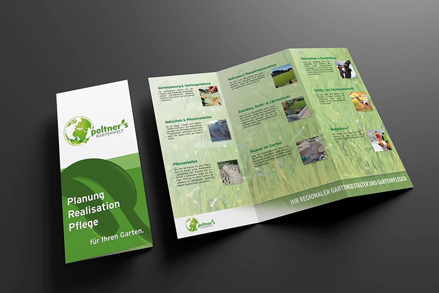 Peltner Gartenbau Visitenkarten Flyer Grafikdesign