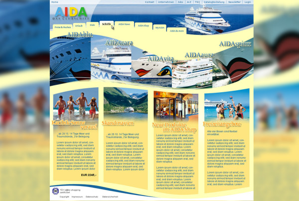 Schröder Media - Webdesign Leipzig : Aida Cruises Mockup