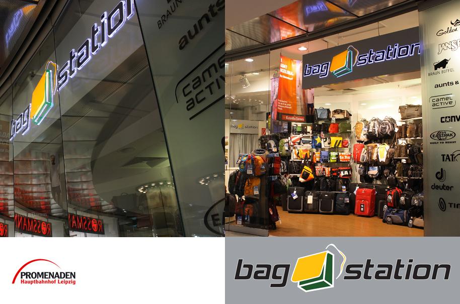 Schröder Media - Logodesign Leipzig : Bagstation Taschen Hauptbahnhof Leipzig
