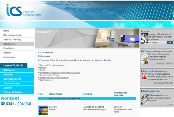 Schröder Media - Webdesign Leipzig : ICS - Integrale Climasysteme GmbH Kühldecke Klimadecke Webdesign