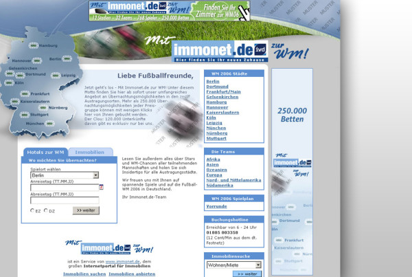 Schröder Media - Webdesign Leipzig : Immonet WM 2006 Design