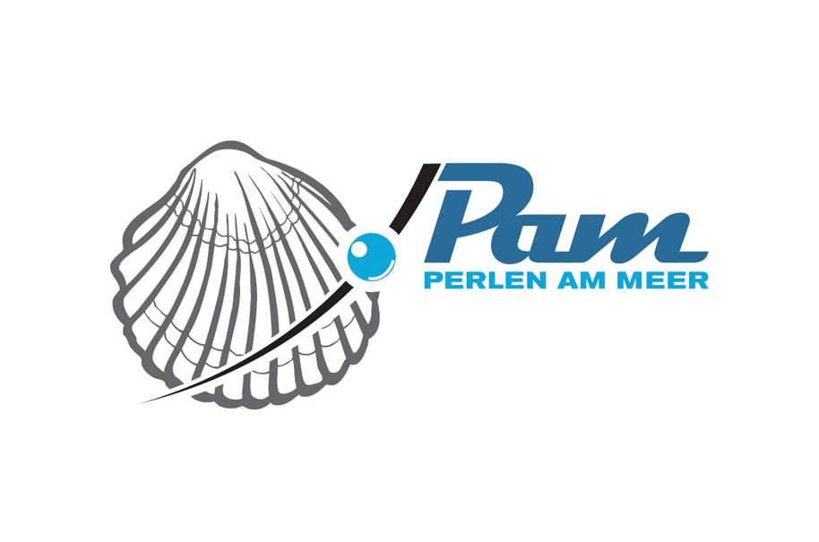 Schröder Media - Logodesign Leipzig : PAM - Perlen am Meer, Muschel, Perle Logodesign