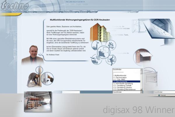 Schröder Media - Webdesign Leipzig : Techno Elementebau GmbH - Digisax 1999 Gewinner
