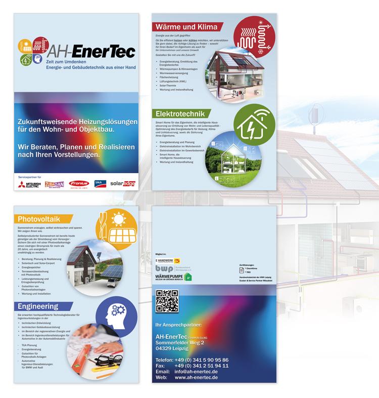 DIN A4 Faltblatt Flyer Printdesign / Energieunternehmen AH-Enertec GmbH Leipzig