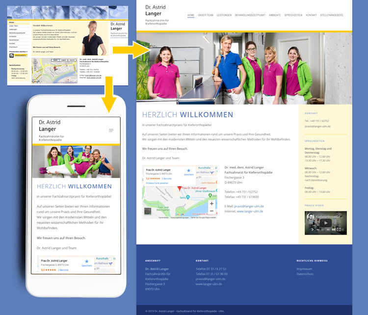 Dr. Astrid Langer – Kieferorthopädie Ulm – Classic zu responsive Webdesign