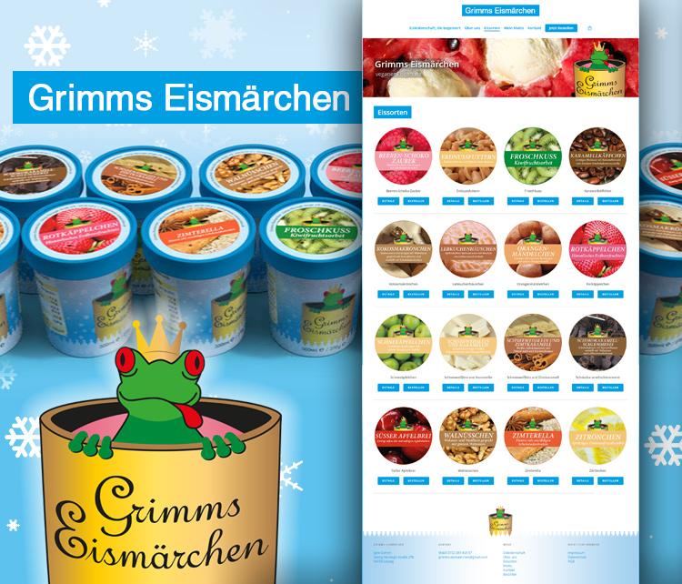 Grimms Eismärchen – veganes handgemachtes Eis aus Leipzig – Webdesign / Webshop
